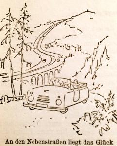 Illustration zum Thema Autoreisen aus den 50er Jahren.